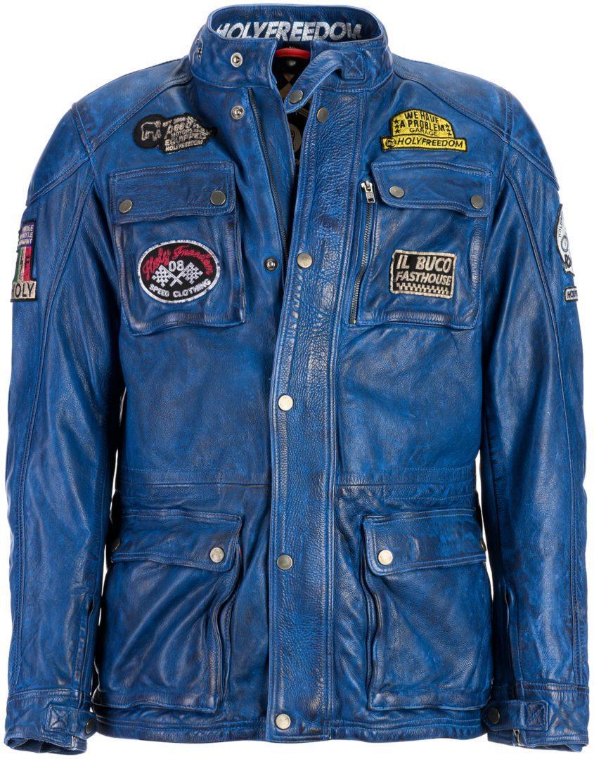 HolyFreedom Quattro Motorrad Lederjacke, blau, Größe S, blau, Größe S