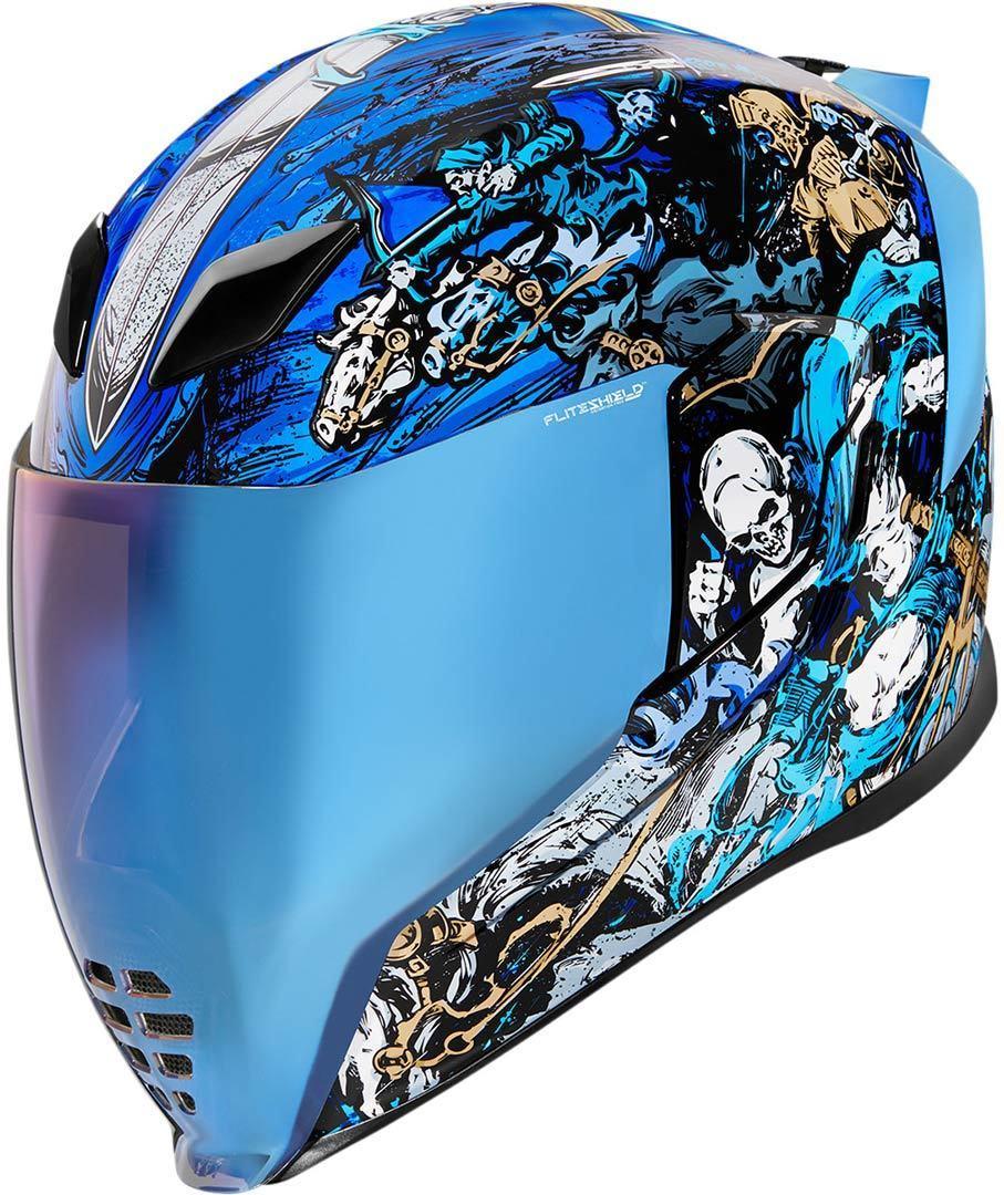 Icon Airflite 4Horsemen Helm, schwarz-weiss-blau, Größe L, schwarz-weiss-blau, Größe L