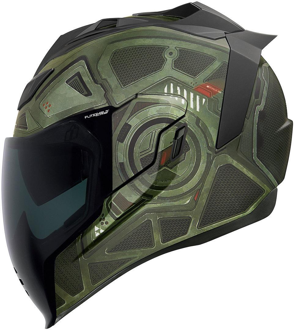 Icon Airflite Blockchain Helm, grün, Größe L, grün, Größe L