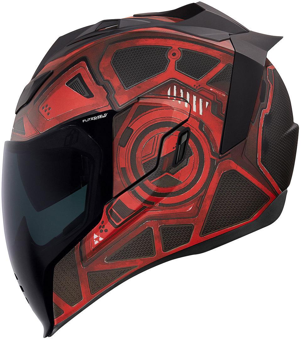 Icon Airflite Blockchain Helm, rot, Größe S, rot, Größe S