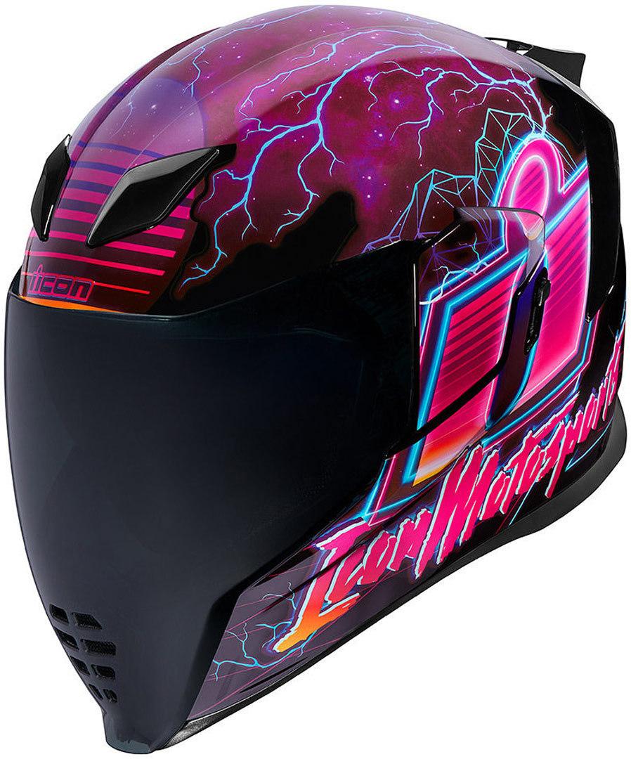 Icon Airflite Synthwave Helm, schwarz-pink, Größe S, schwarz-pink, Größe S