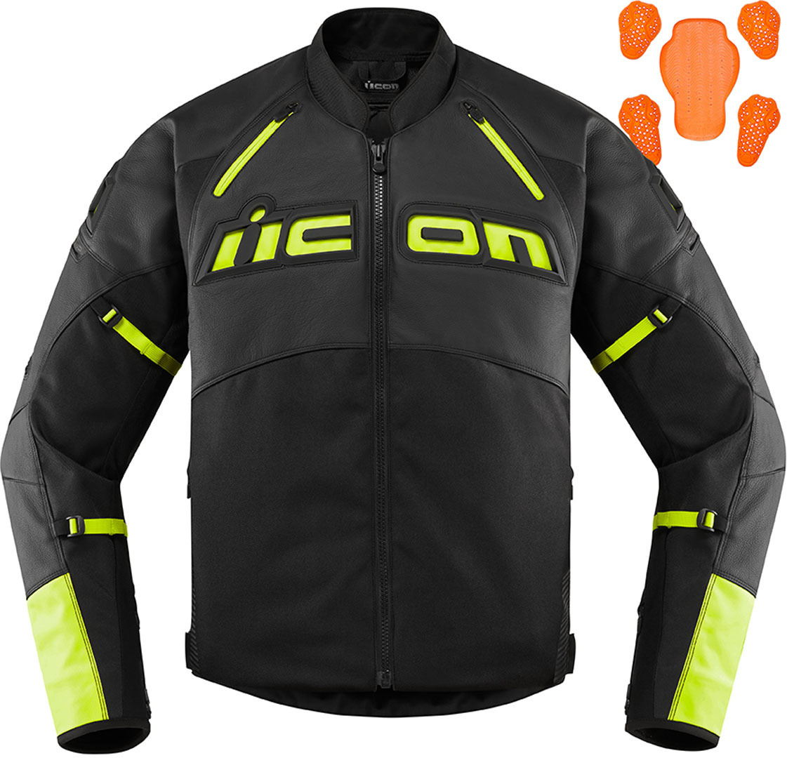 Icon Contra2 Motorrad Textil- / Lederjacke, schwarz-gelb, Größe 2XL, schwarz-gelb, Größe 2XL