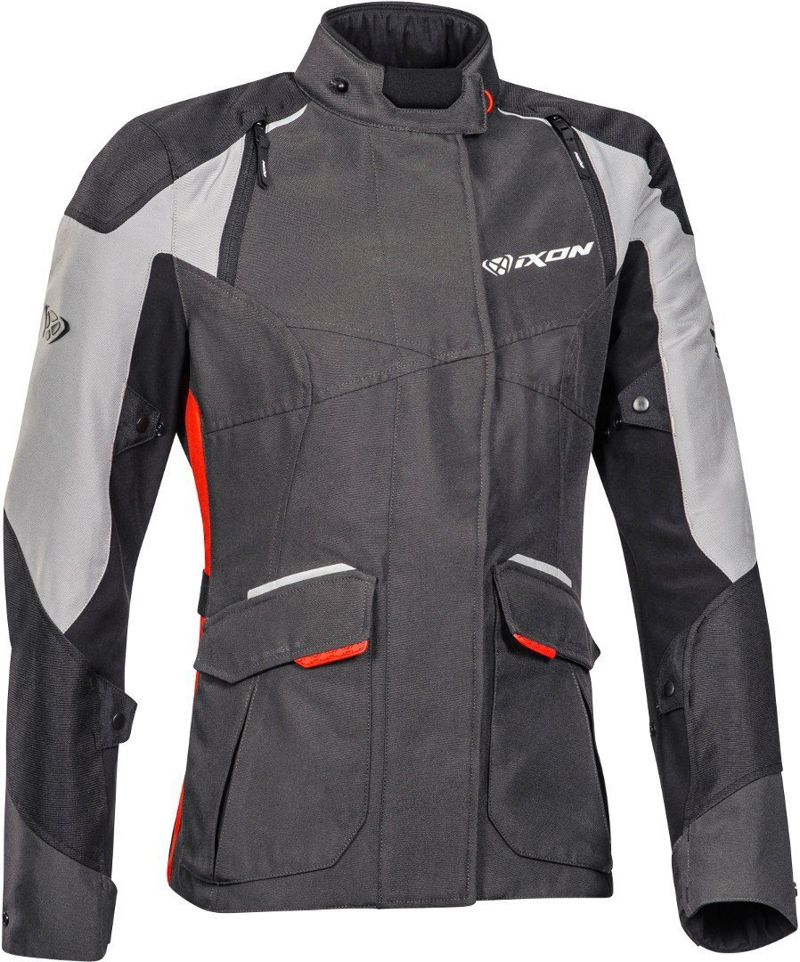 Ixon Balder Damen Motorrad Textiljacke, schwarz-grau-rot, Größe XL, schwarz-grau-rot, Größe XL