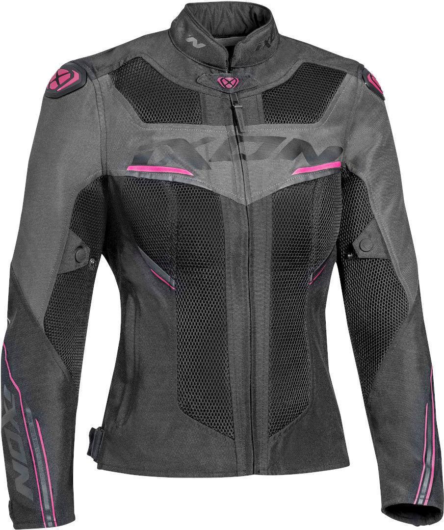 Ixon Draco Damen Motorrad Textiljacke, schwarz-grau-pink, Größe XL, schwarz-grau-pink, Größe XL