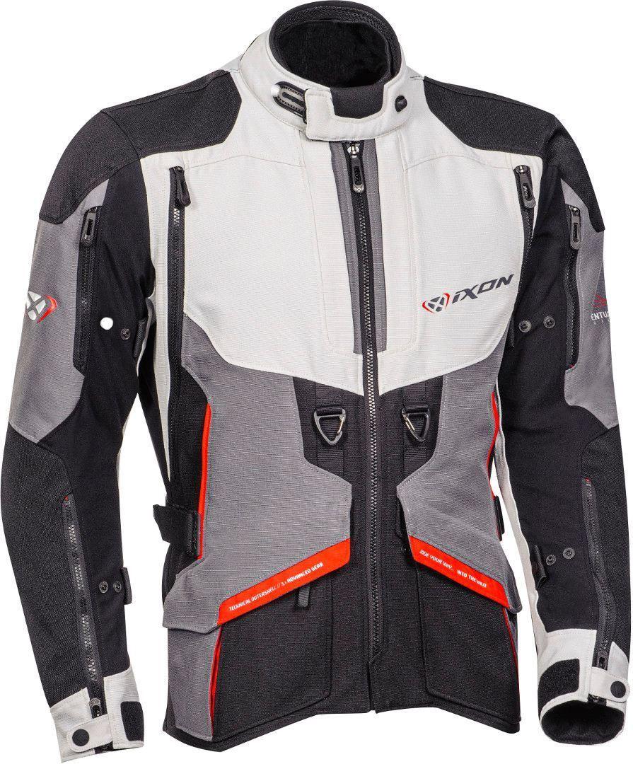 Ixon Ragnar Motorrad Textiljacke, schwarz-grau-rot, Größe L, schwarz-grau-rot, Größe L