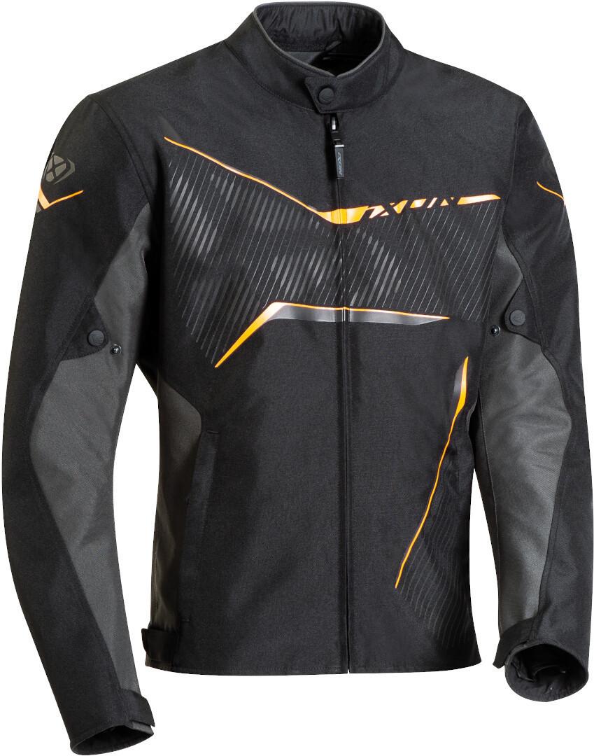 Ixon Slash Motorrad Textiljacke, schwarz-grau-orange, Größe L, schwarz-grau-orange, Größe L
