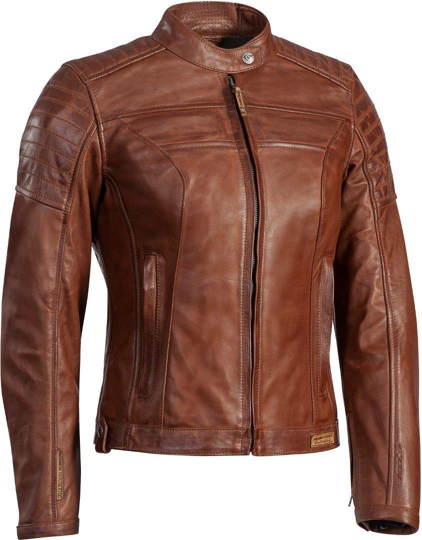 Ixon Spark Damen Motorrad Lederjacke, braun, Größe XL, braun, Größe XL