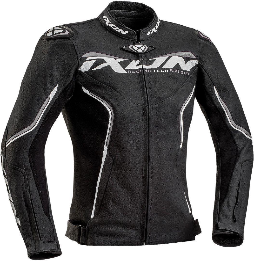 Ixon Trinity Damen Motorrad Lederjacke, schwarz-grau-weiss, Größe L, schwarz-grau-weiss, Größe L