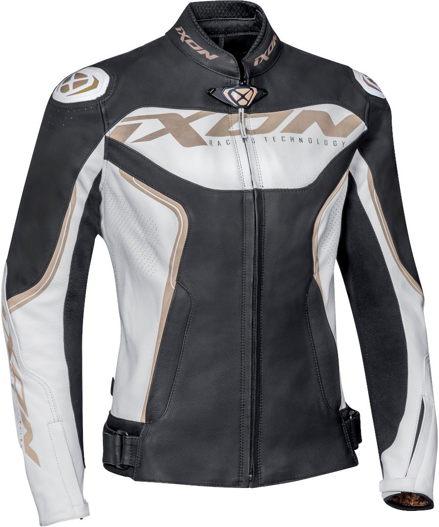 Ixon Trinity Damen Motorrad Lederjacke, schwarz-weiss-gold, Größe S, schwarz-weiss-gold, Größe S