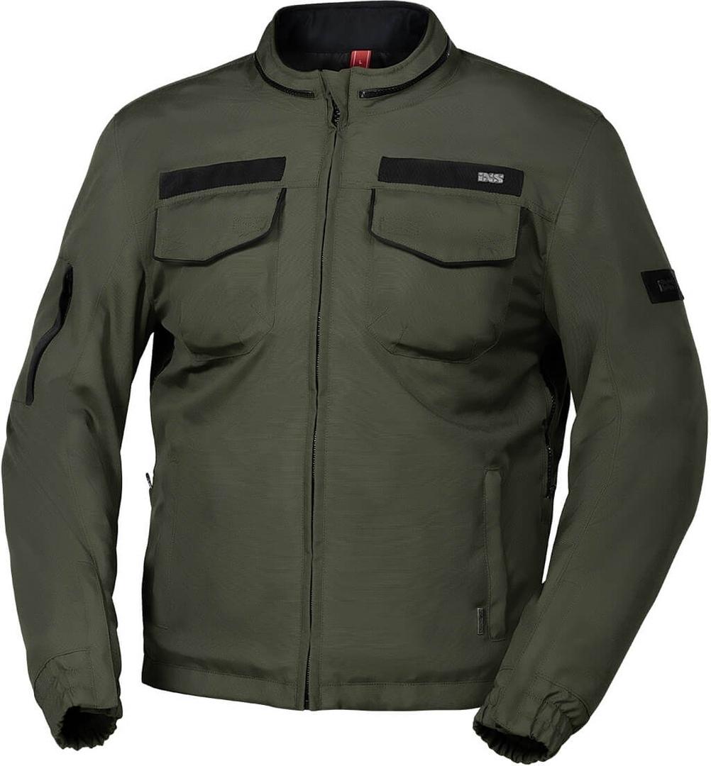 IXS Classic Baldwin-ST wasserdichte Motorrad Textiljacke, grün, Größe L, grün, Größe L