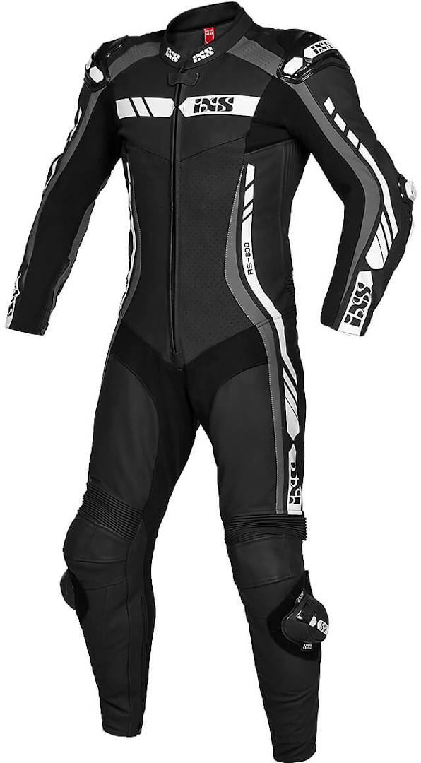 IXS RS-800 2.0 1-Teiler Motorrad Lederkombi, schwarz-grau-weiss, Größe L, schwarz-grau-weiss, Größe L