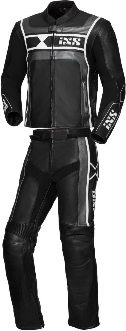IXS Sport RS-500 2-Teiler Motorrad Lederkombi, schwarz-silber, Größe 48, schwarz-silber, Größe 48