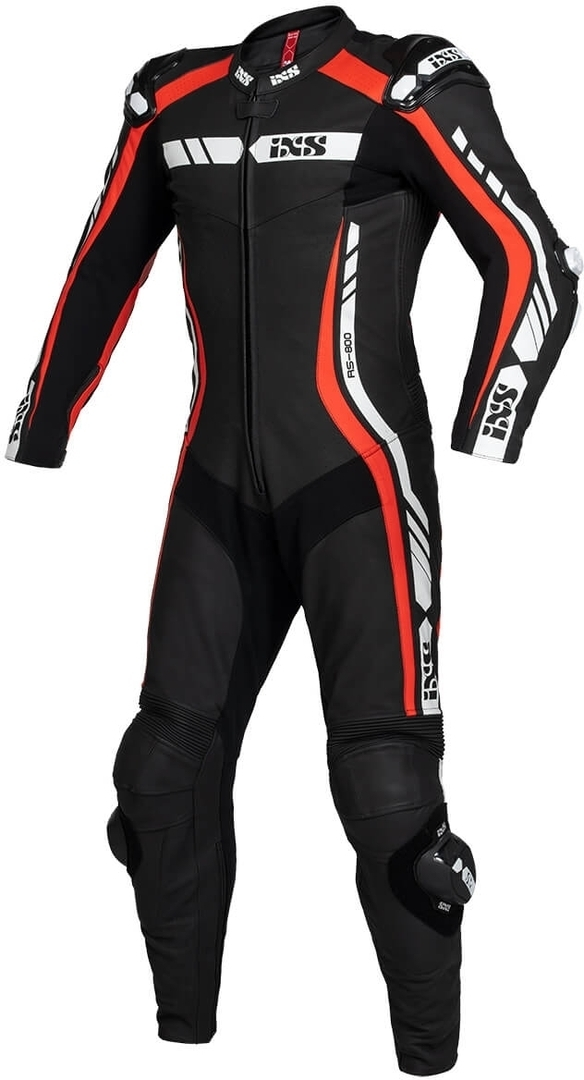 IXS Sport RS-800 1.0 1-Teiler Motorrad Lederkombi, schwarz-weiss-rot, Größe 48, schwarz-weiss-rot, Größe 48