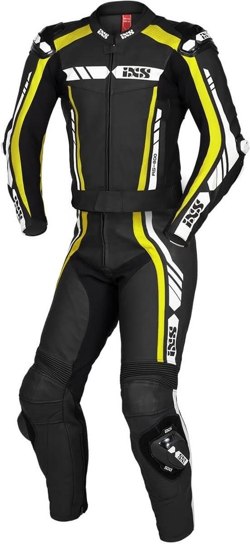 IXS Sport RS-800 1.0 2-Teiler Motorrad Lederkombi, schwarz-weiss-gelb, Größe 56, schwarz-weiss-gelb, Größe 56