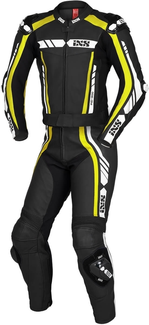 IXS Sport RS-800 1.0 2-Teiler Motorrad Lederkombi, schwarz-weiss-gelb, Größe S, schwarz-weiss-gelb, Größe S
