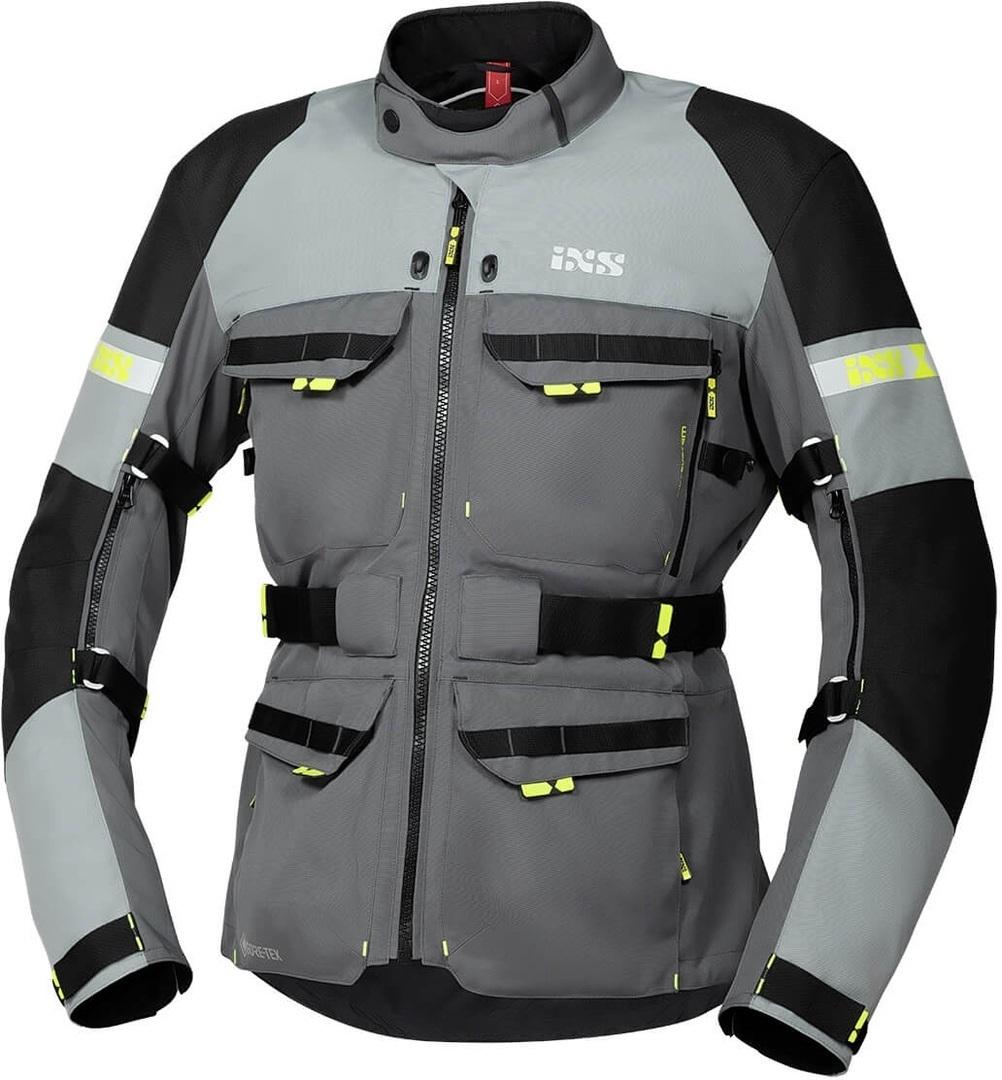 IXS Tour Adventure Gore-Tex Motorrad Textiljacke, schwarz-grau, Größe L, schwarz-grau, Größe L
