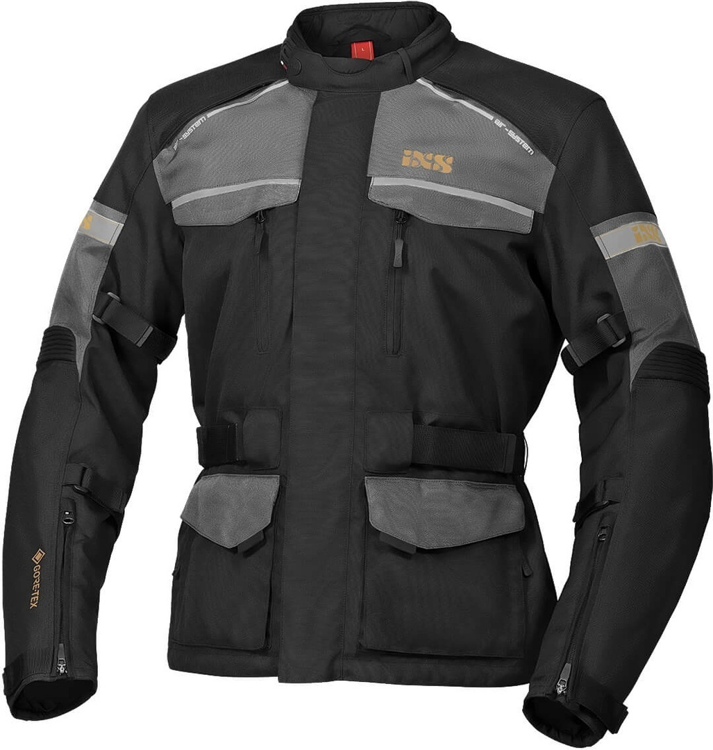 IXS Tour Classic Gore-Tex Motorrad Textiljacke, schwarz-grau, Größe XL, schwarz-grau, Größe XL