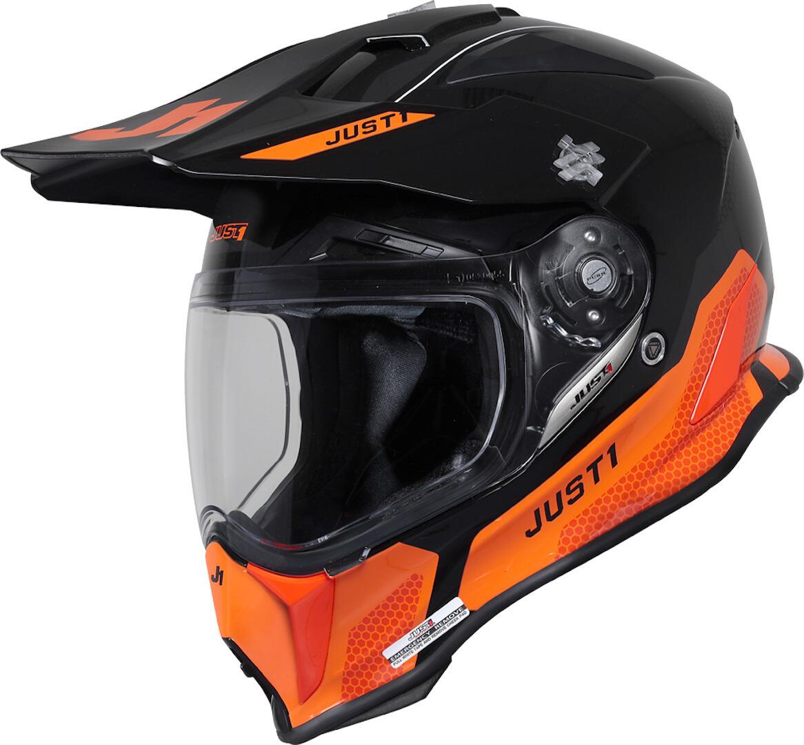 Just1 J14-F Elite Motocross Helm, schwarz-orange, Größe XS, schwarz-orange, Größe XS