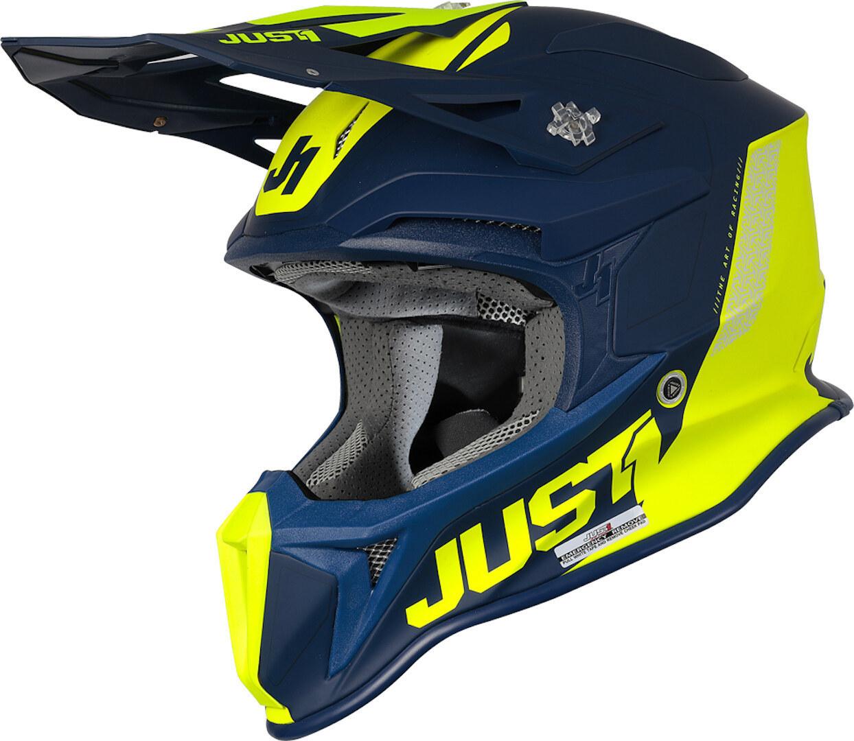 Just1 J18 Pulsar MIPS Motocross Helm, blau-gelb, Größe M, blau-gelb, Größe M