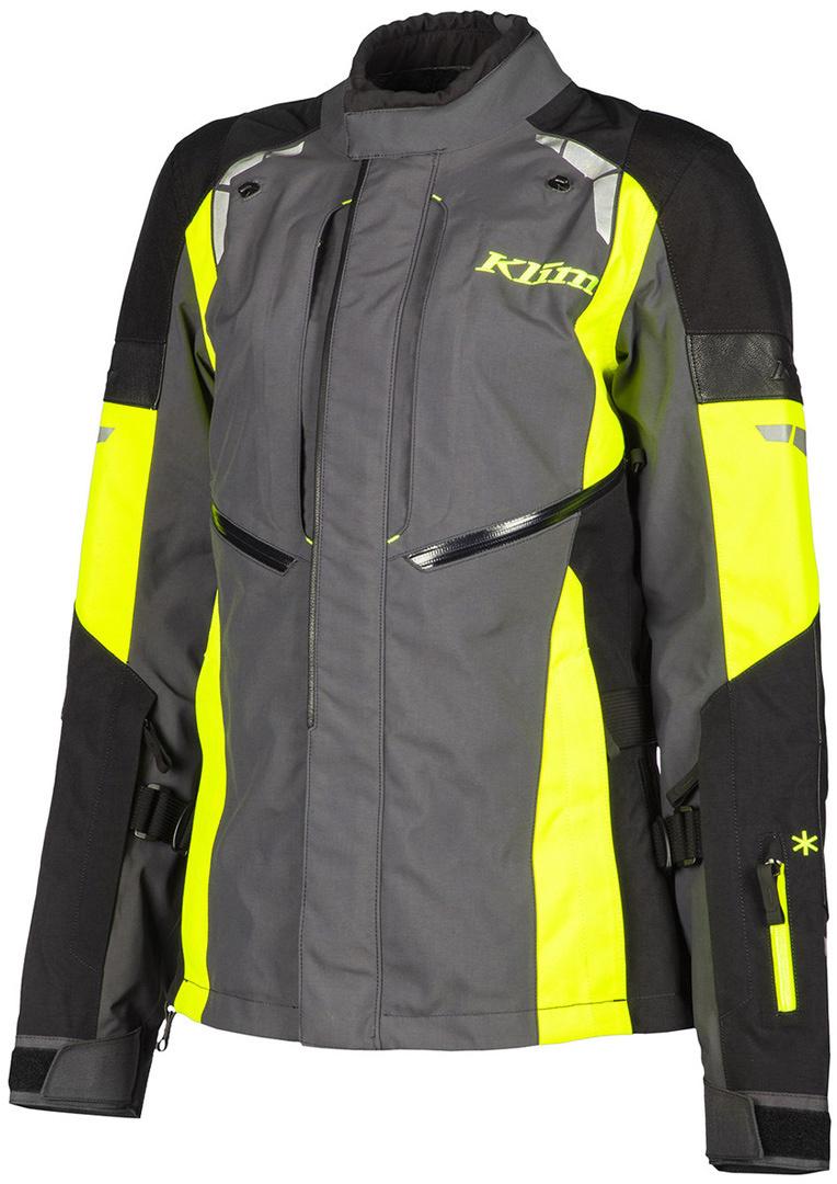 Klim Latitude Damen Motorrad Textiljacke, schwarz-grau-gelb, Größe 46, schwarz-grau-gelb, Größe 46