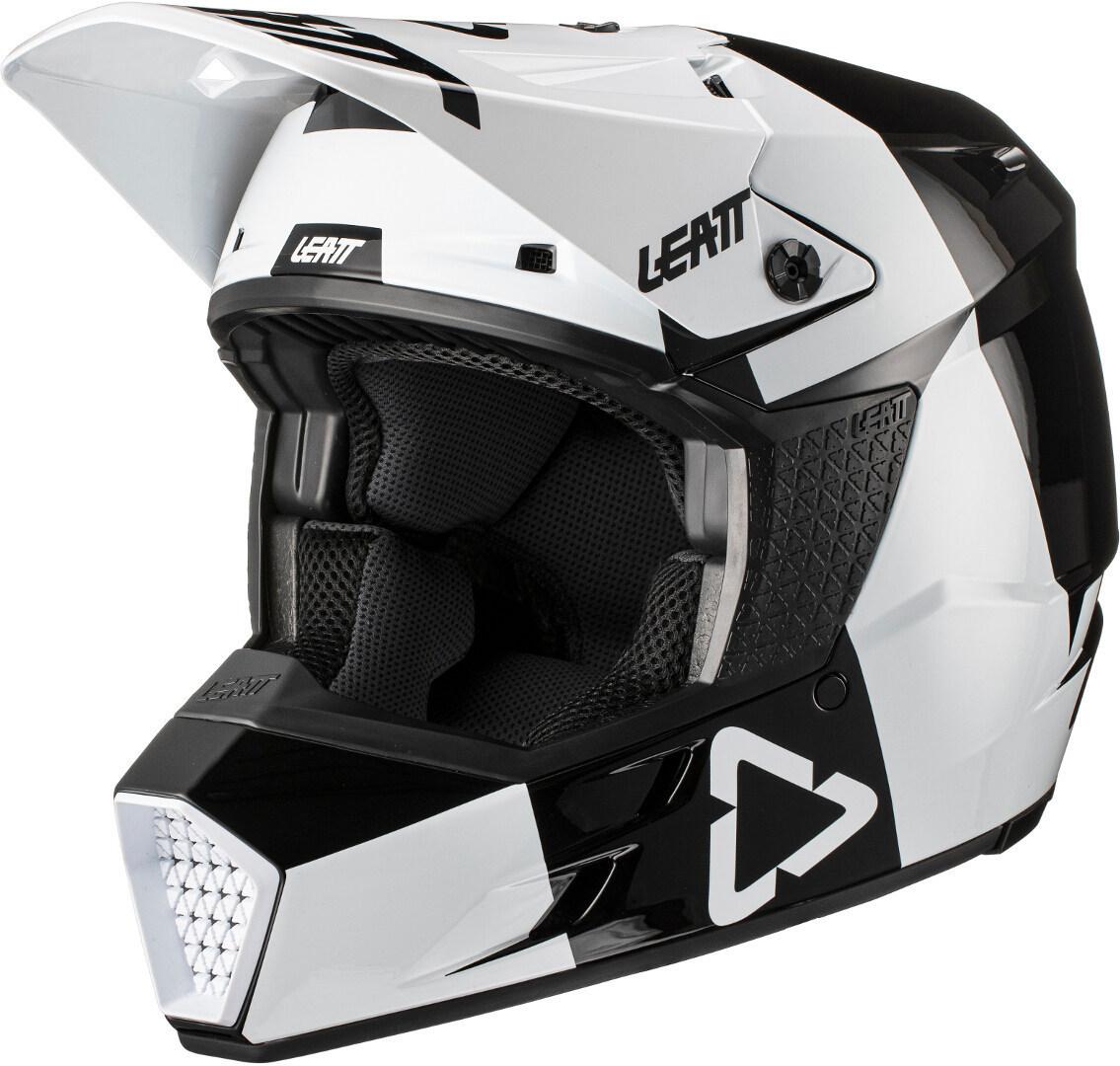 Leatt Moto 3.5 V21.3 Vertical Motocross Helm, schwarz-weiss, Größe 2XL, schwarz-weiss, Größe 2XL