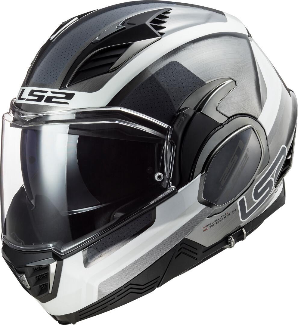 LS2 FF900 Valiant II Orbit Helm, schwarz-weiss-silber, Größe M, schwarz-weiss-silber, Größe M