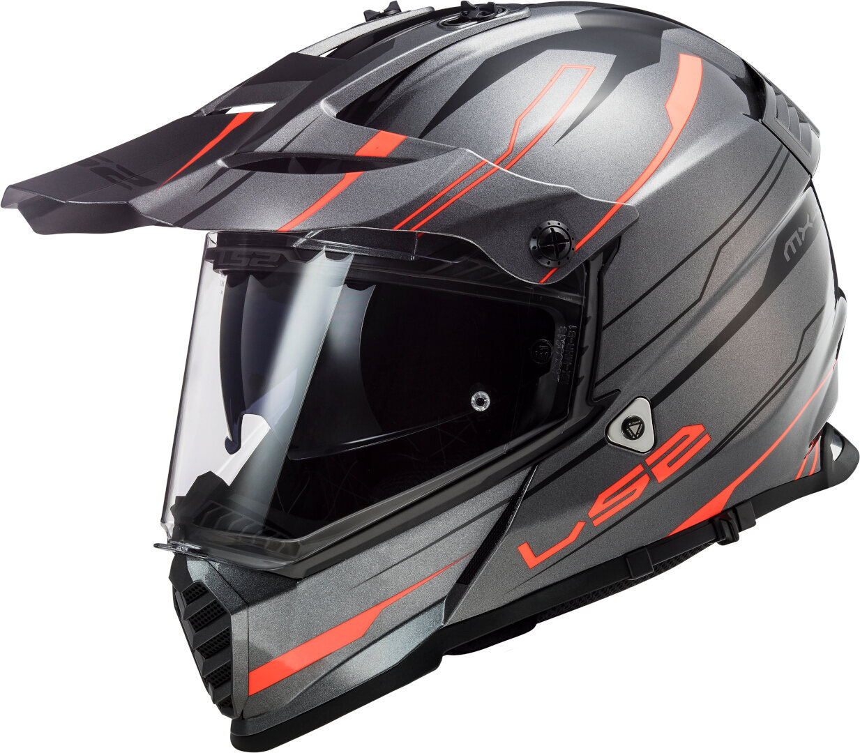 LS2 MX436 Pioneer Evo Knight Motocross Helm, grau-orange, Größe L, grau-orange, Größe L