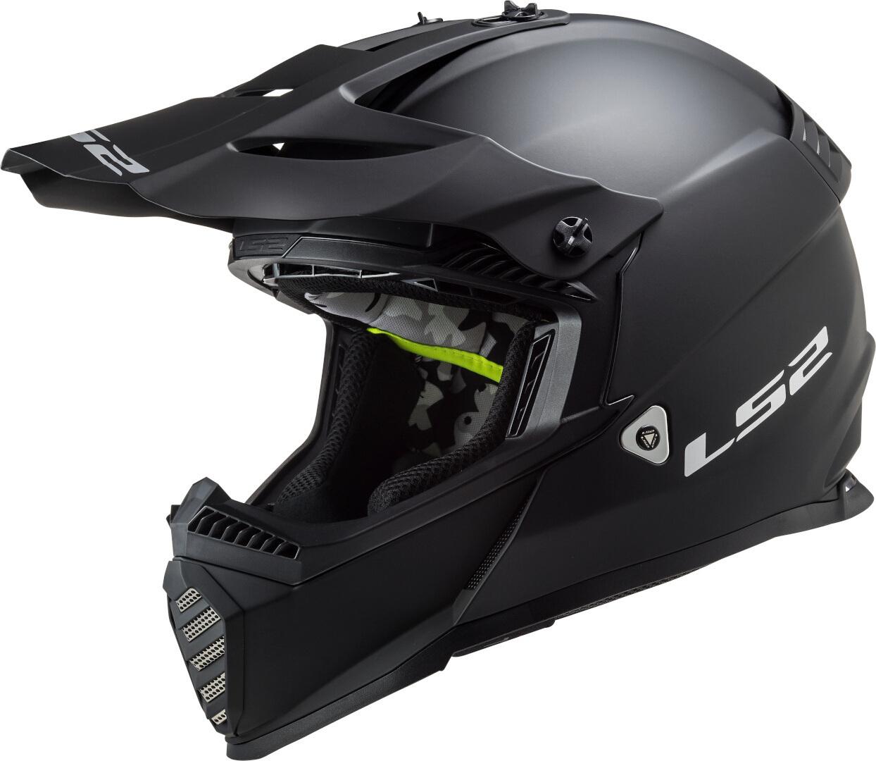 LS2 MX437 Fast Evo Solid Motocross Helm, schwarz, Größe 2XS, schwarz, Größe 2XS