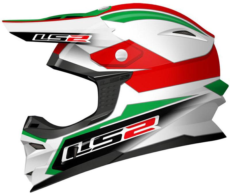 LS2 MX456 Tuareg Motocross Helmet, rot-grün, Größe XS, rot-grün, Größe XS