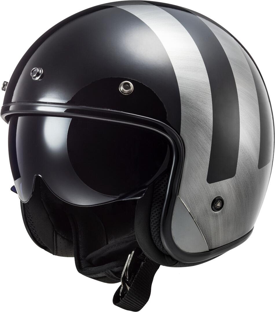 LS2 OF601 Bob Lines Jethelm, schwarz-silber, Größe XL, schwarz-silber, Größe XL