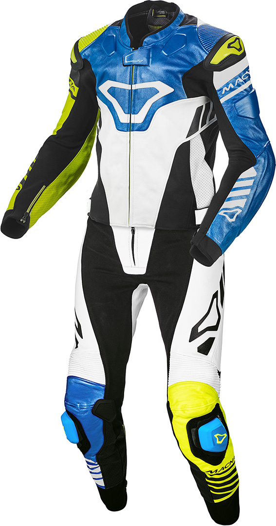 Macna Tracktix 2-Teiler Perforierte Motorrad Lederkombi, blau, Größe 54, blau, Größe 54