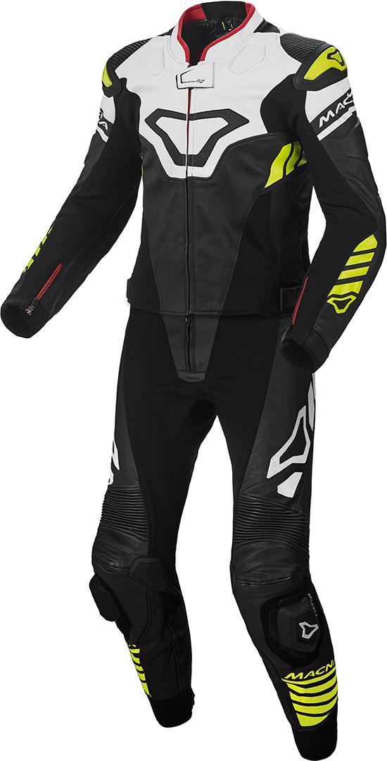 Macna Tracktix 2-Teiler Perforierte Motorrad Lederkombi, schwarz-weiss-gelb, Größe 54, schwarz-weiss-gelb, Größe 54