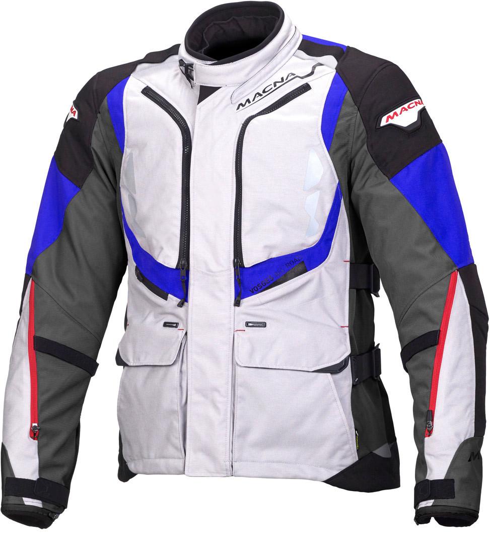 Macna Vosges Motorrad Textiljacke, grau-weiss-blau, Größe M, grau-weiss-blau, Größe M