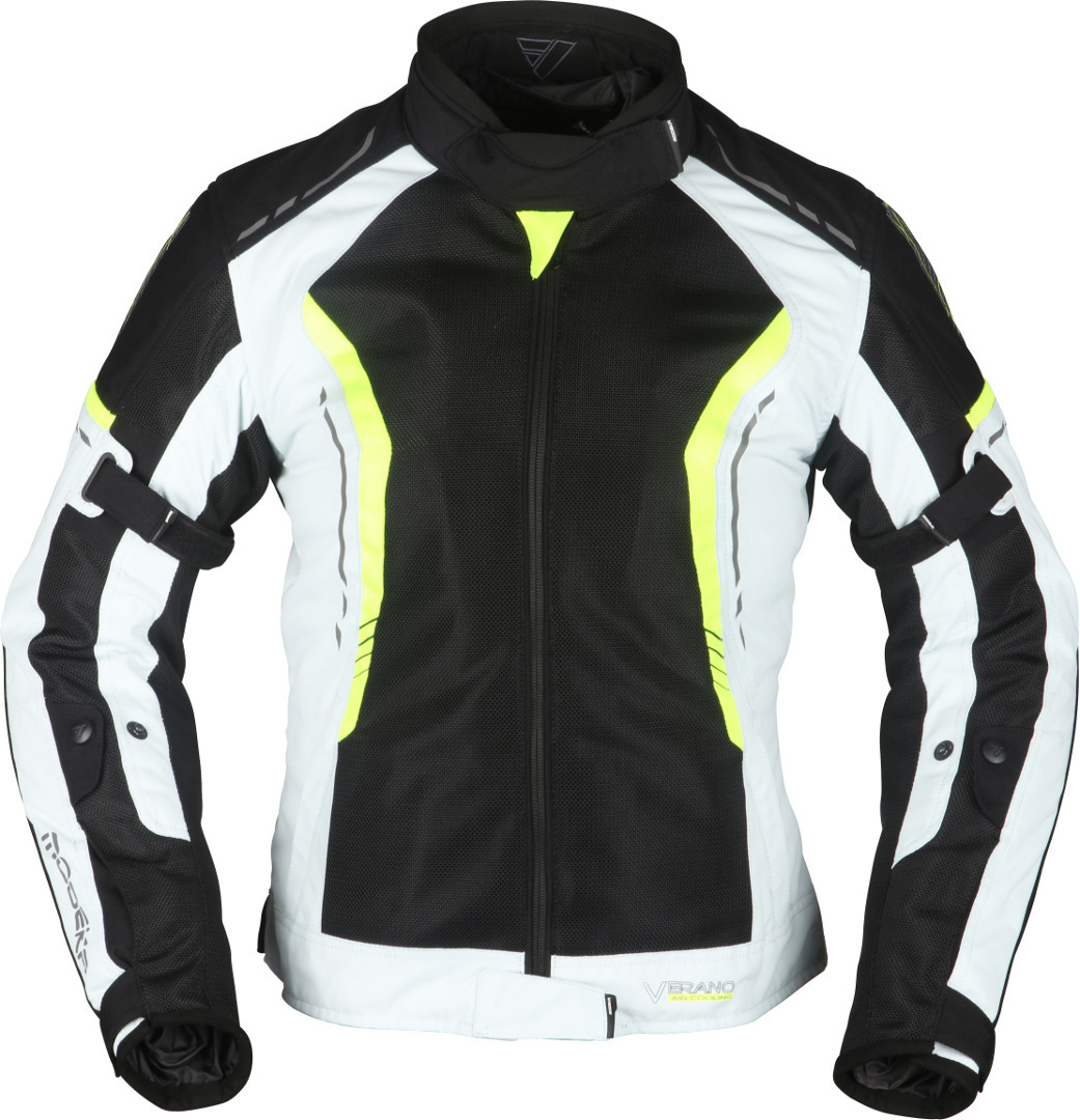 Modeka Khao Air Damen Motorrad Textiljacke, schwarz-grau-gelb, Größe 44, schwarz-grau-gelb, Größe 44