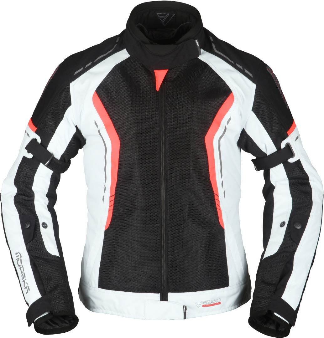 Modeka Khao Air Damen Motorrad Textiljacke, schwarz-grau-rot, Größe 34, schwarz-grau-rot, Größe 34