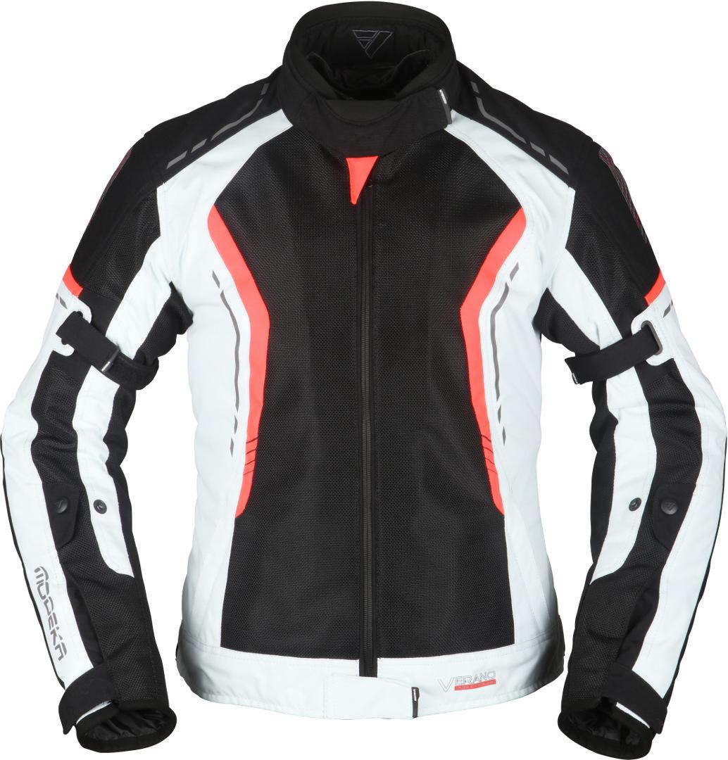 Modeka Khao Air Damen Motorrad Textiljacke, schwarz-grau-rot, Größe 38, schwarz-grau-rot, Größe 38
