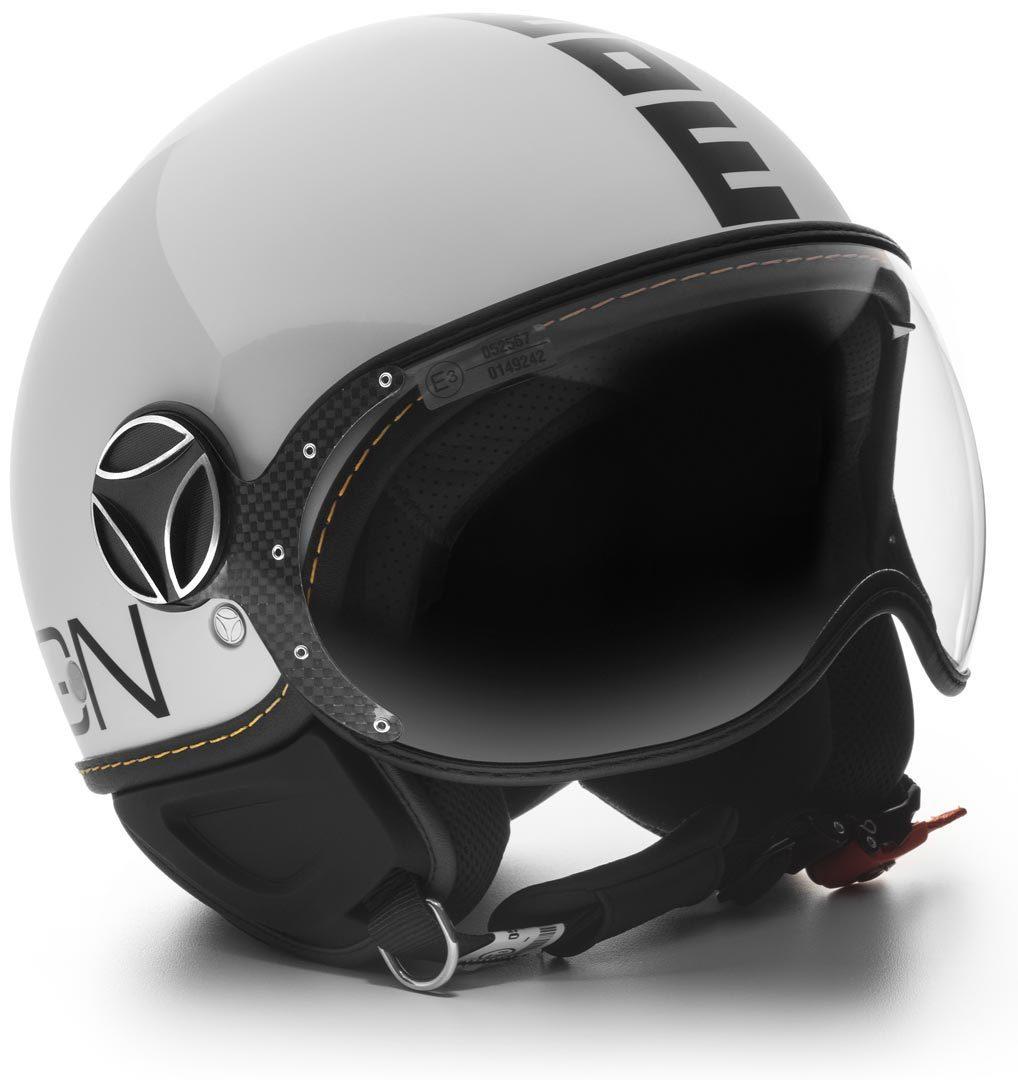 MOMO FGTR EVO Jethelm Weiss Quarz Glossy Logo Schwarz, Größe L, weiss, Größe L