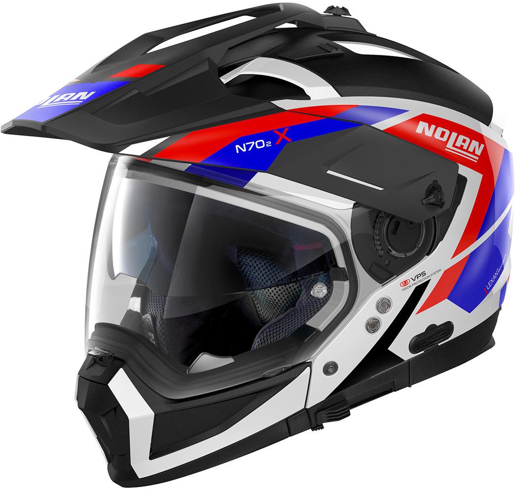 Nolan N70-2 X Grandes Alpes N-Com Helm, schwarz-rot-blau, Größe S, schwarz-rot-blau, Größe S