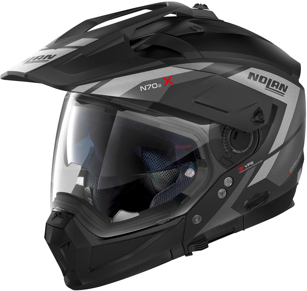 Nolan N70-2 X Grandes Alpes N-Com Helm, schwarz-silber, Größe S, schwarz-silber, Größe S