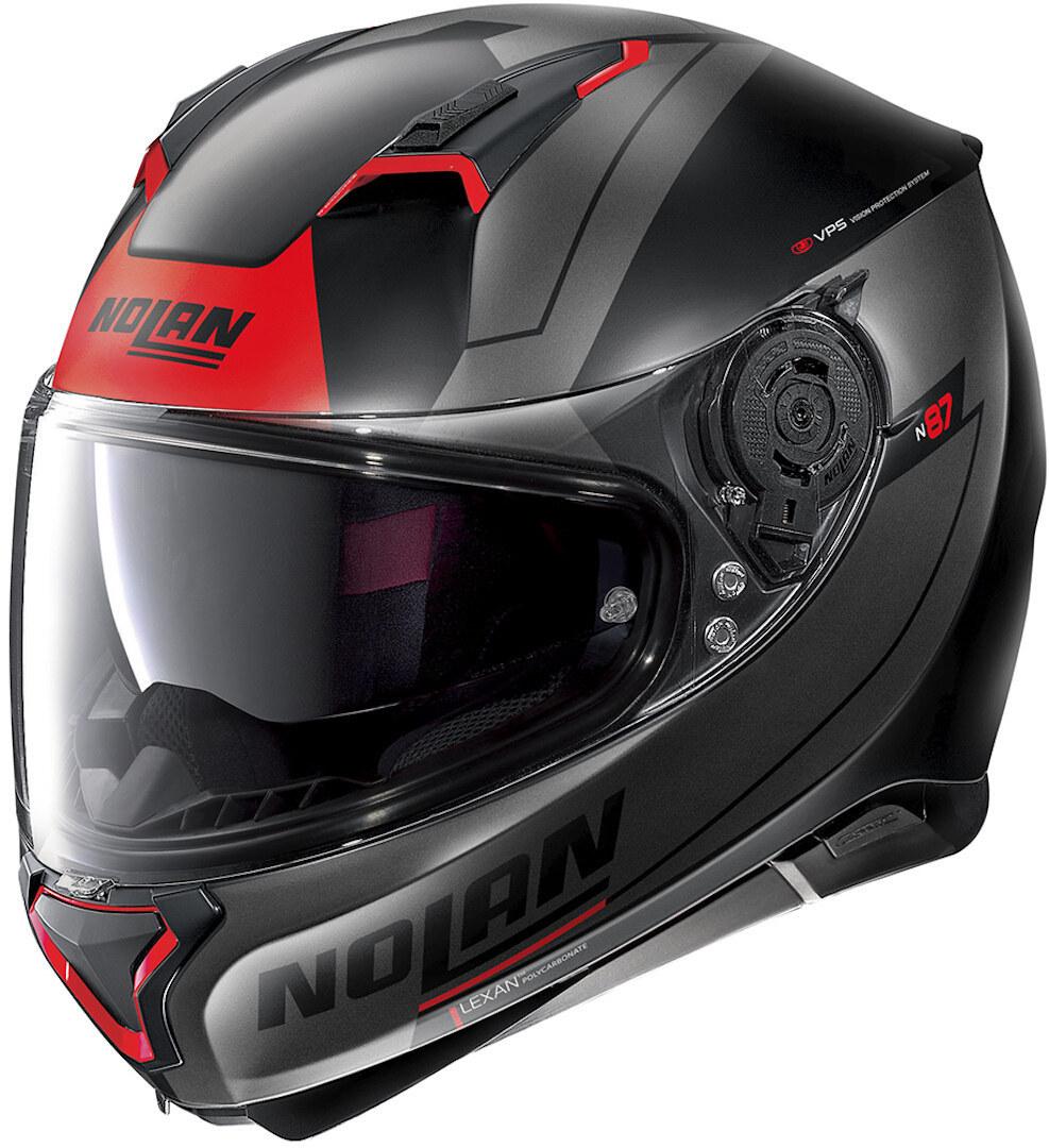 Nolan N87 Skilled N-Com Helm, schwarz-rot, Größe L, schwarz-rot, Größe L