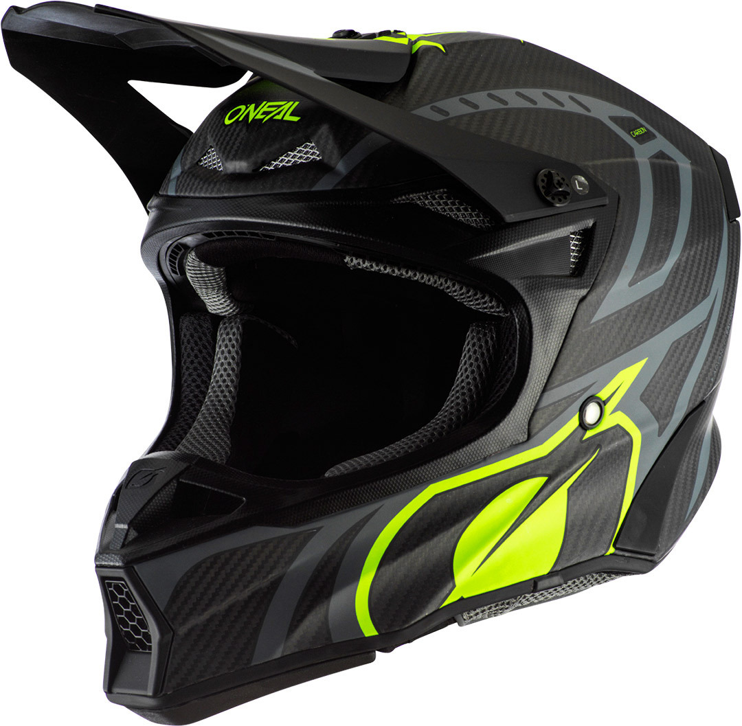 Oneal 10Series Carbon Race Motocross Helm, schwarz-gelb, Größe S, schwarz-gelb, Größe S