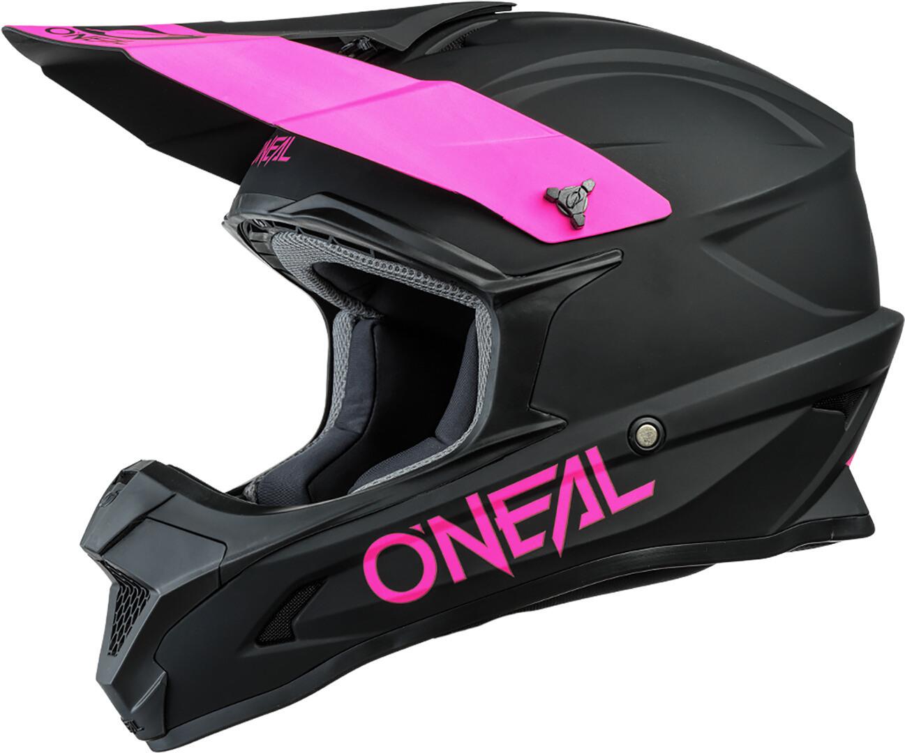 Oneal 1Series Solid Motocross Helm, schwarz-pink, Größe 2XL, schwarz-pink, Größe 2XL