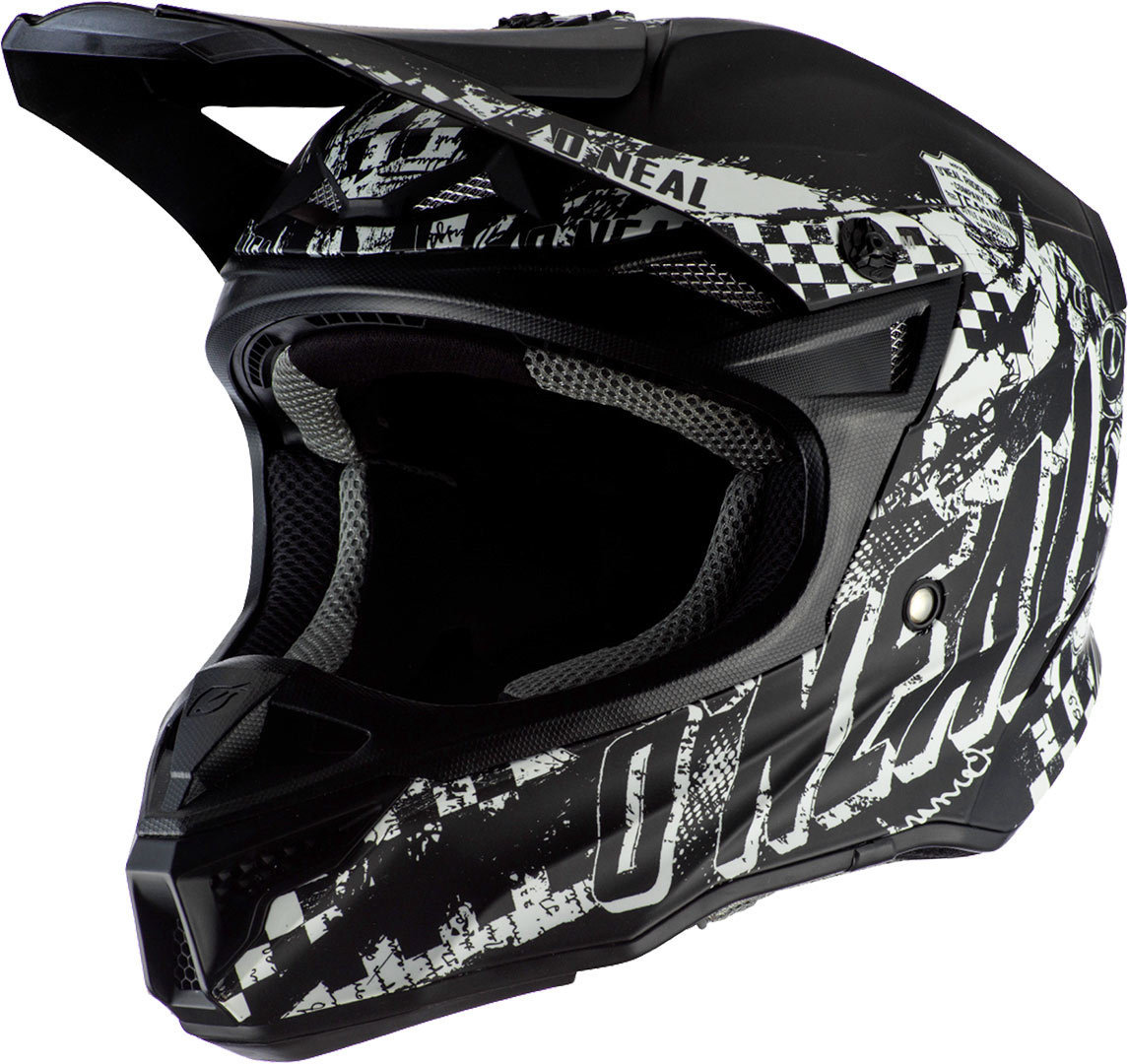 Oneal 5Series Polyacrylite Rider Motocross Helm, schwarz-weiss, Größe XL, schwarz-weiss, Größe XL