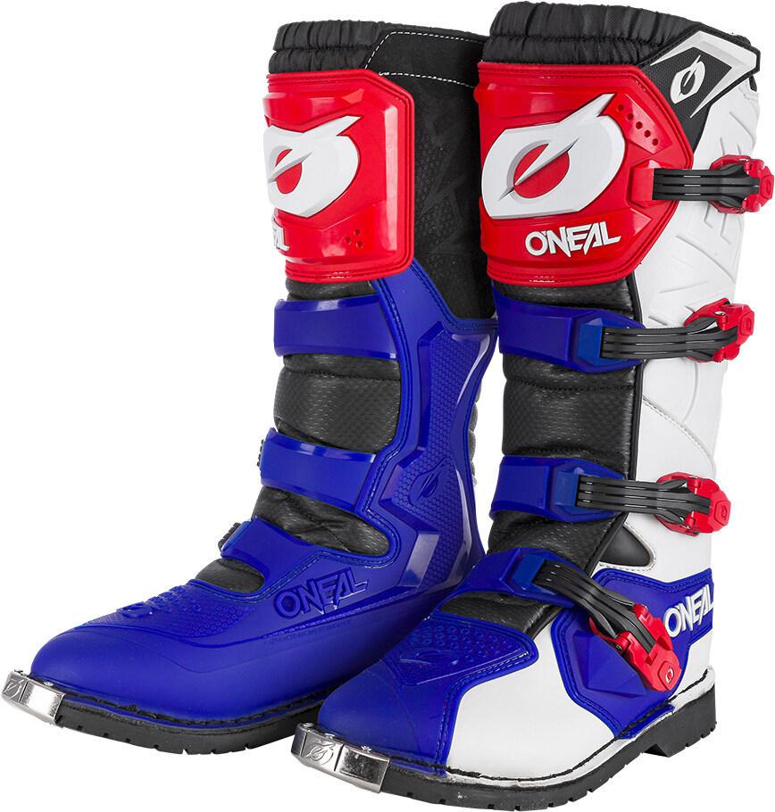Oneal Rider Pro Motocross Stiefel, rot-blau, Größe 44, rot-blau, Größe 44