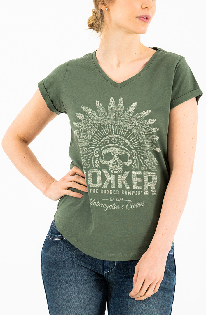 Rokker Indian Bonnet Damen T-Shirt, grün, Größe XS, grün, Größe XS