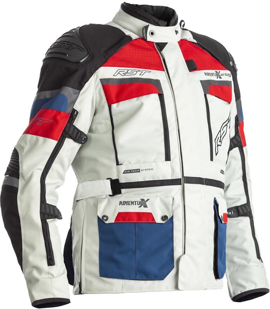 RST Adventure-X Airbag Motorrad Textiljacke, weiss-rot-blau, Größe 50, weiss-rot-blau, Größe 50
