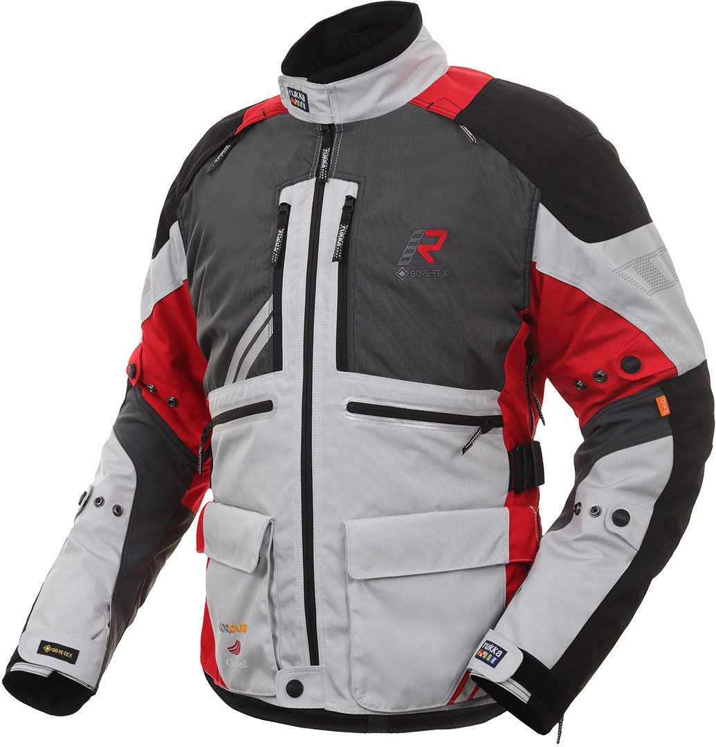 Rukka Offlane Motorrad Textiljacke, grau-rot, Größe 64, grau-rot, Größe 64