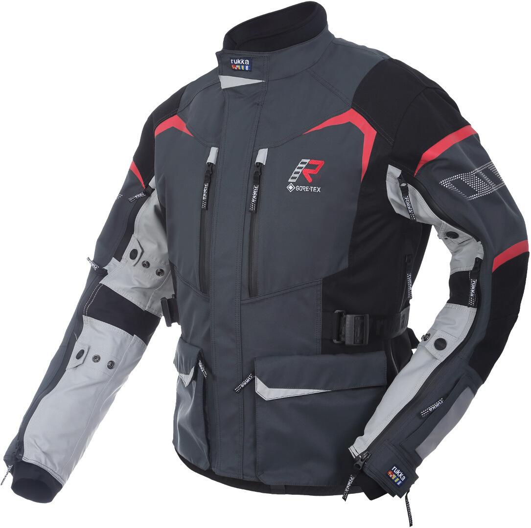 Rukka Rimo-R Motorrad Textiljacke, schwarz-grau-weiss-rot, Größe 54, schwarz-grau-weiss-rot, Größe 54