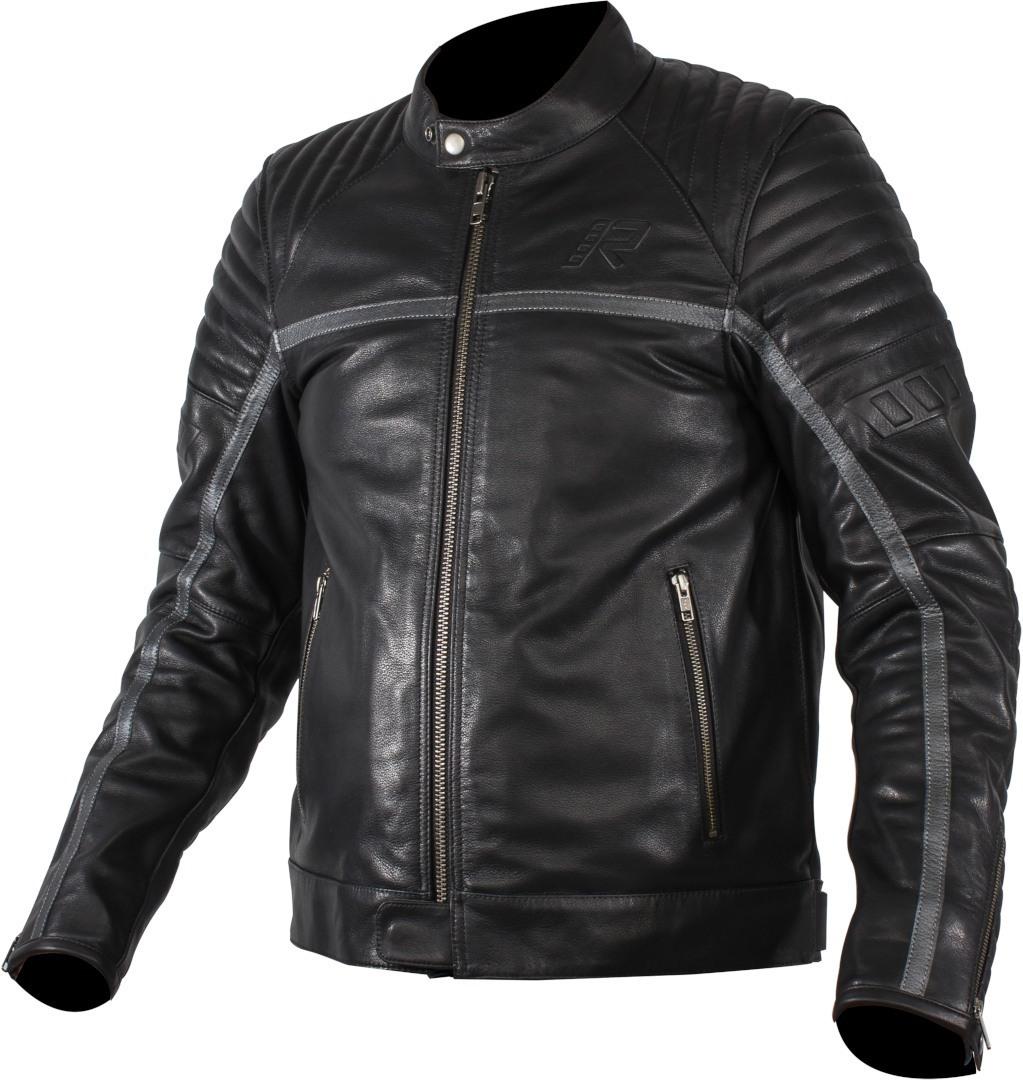 Rukka Yorkton Motorrad Lederjacke, schwarz-silber, Größe 56, schwarz-silber, Größe 56