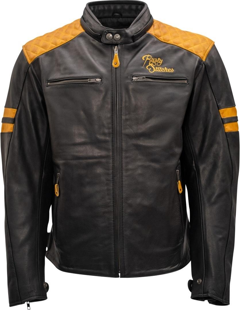 Rusty Stitches Jari Motorrad Lederjacke, schwarz-gold, Größe L, schwarz-gold, Größe L